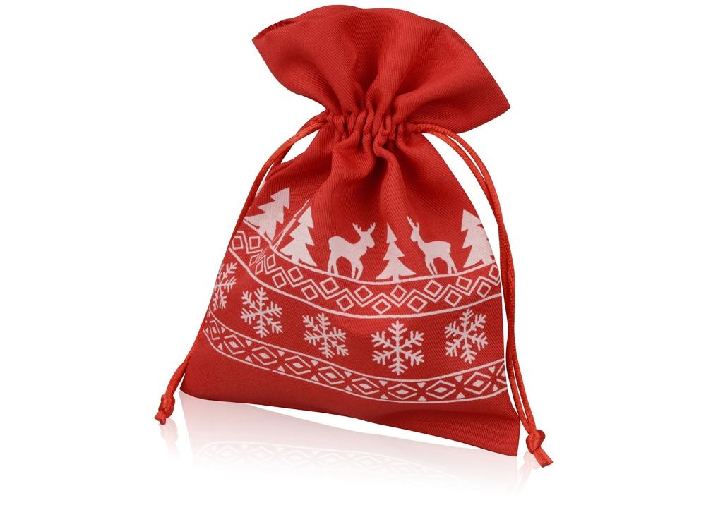 Мешочек подарочный новогодний, хлопок, средний, красный