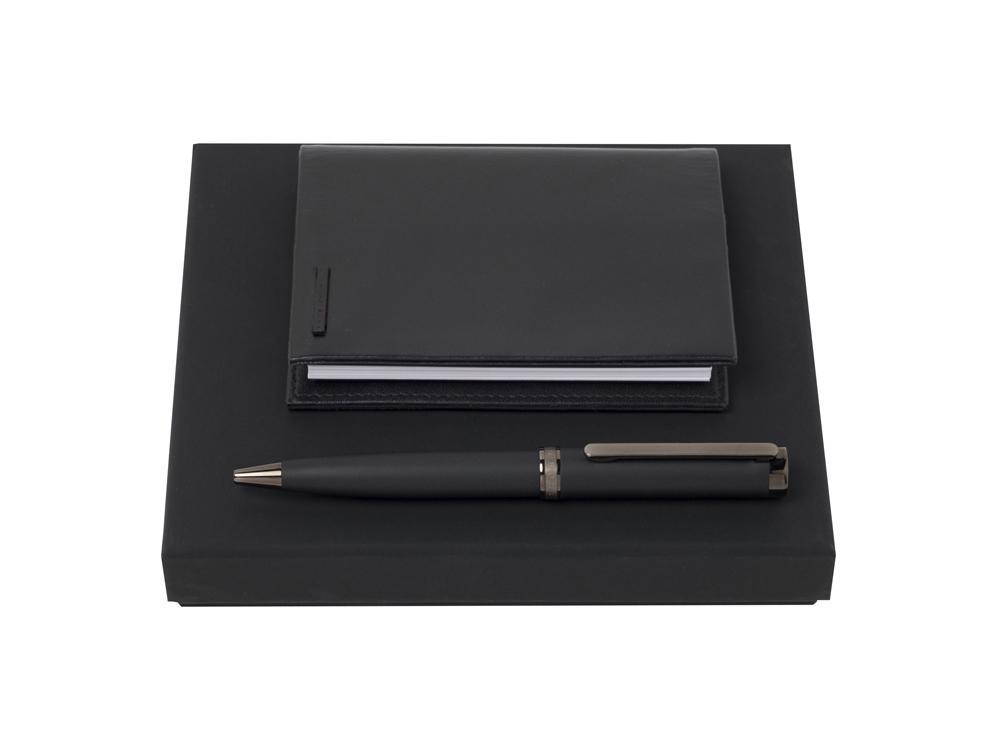 Подарочный набор: блокнот А7, ручка шариковая. Hugo Boss, черный