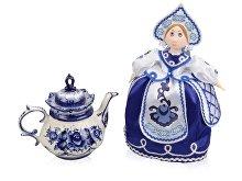Подарочный набор «Гжель»: кукла на чайник, чайник заварной с росписью (арт. 6268)