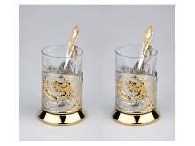 Набор «Охотники на привале»: 2 стакана с подстаканниками (арт. 82700)