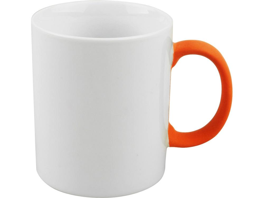 Кружка, белый/оранжевый