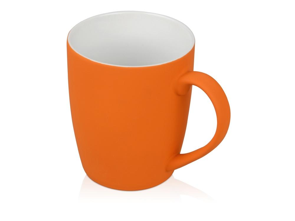 Кружка керамическая с покрытием софт тач оранжевая