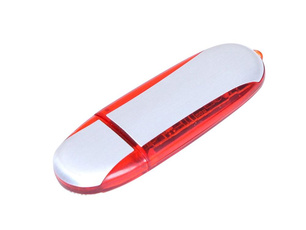 Флешка промо овальной формы, 64 Гб, серебристый/красный