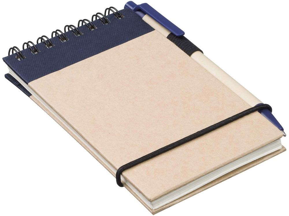 Блокнот А7 Zuse с ручкой шариковой, синий