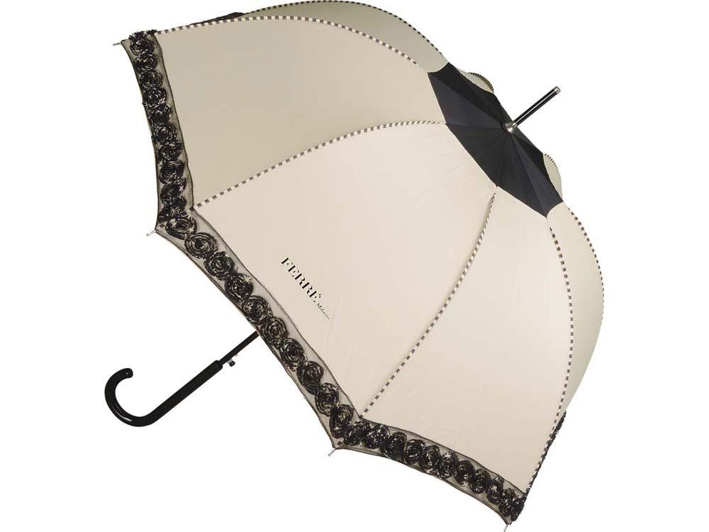 Зонт-трость Ferre, полуавтомат, бежевый/черный