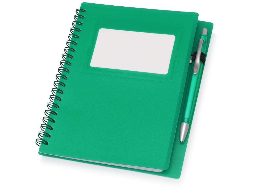Блокнот Контакт с ручкой, зеленый