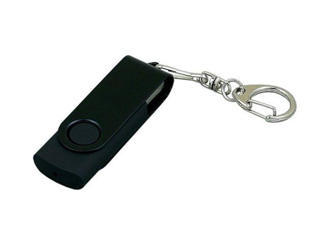 Флешка промо поворотный механизм, с однотонным металлическим клипом, 16 Гб, черный
