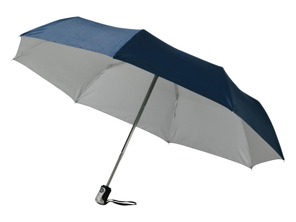 Зонт Alex трехсекционный автоматический 21,5, темно-синий/серебристый (Р)