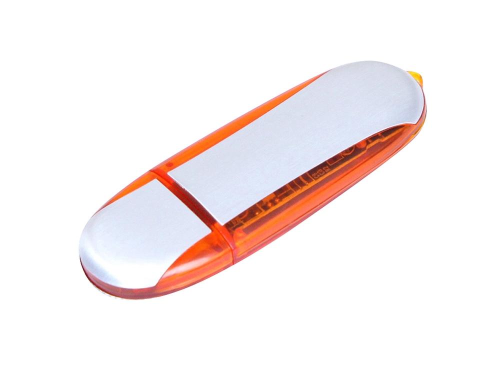 Флешка промо овальной формы, 16 Гб, серебристый/оранжевый
