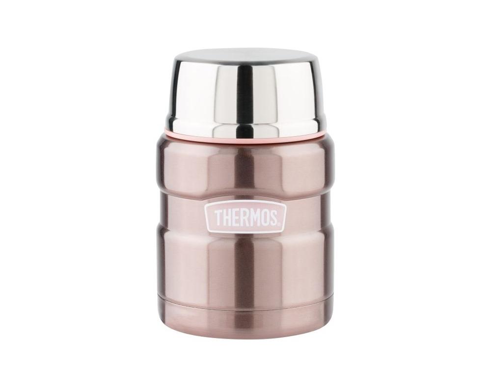 Термос из нерж. стали с ложкой тм THERMOS SK3000 Pink 0,47L, розовый