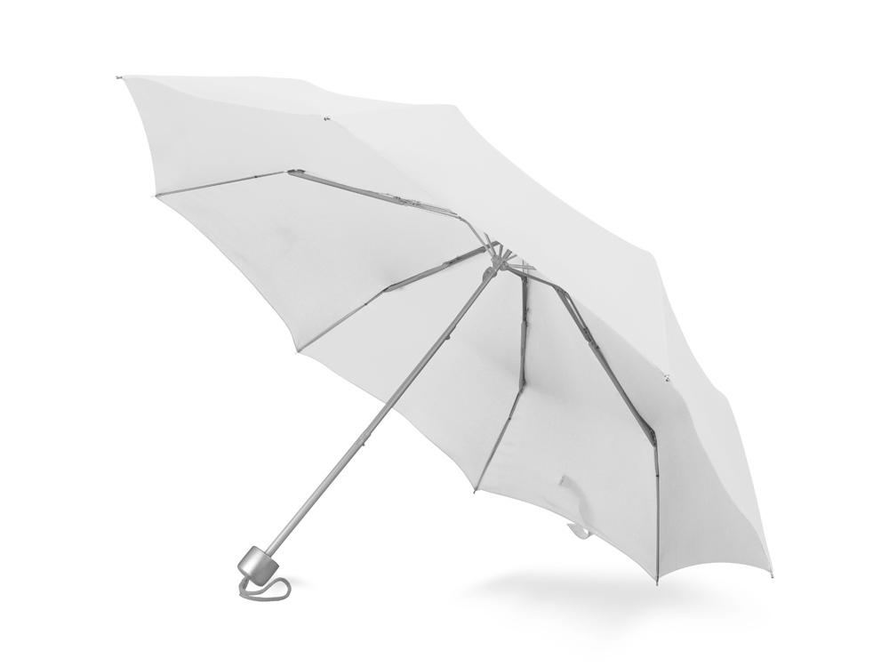 Зонт складной Tempe, механический, 3 сложения, с чехлом, белый (Р)