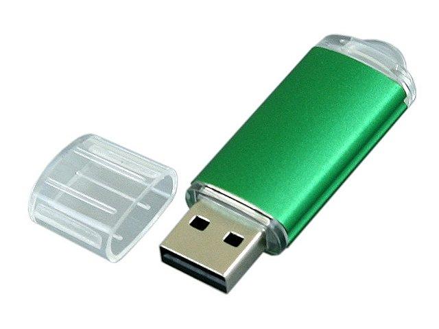 Флешка промо прямоугольной формы  c прозрачным колпачком, 64 Гб, зеленый