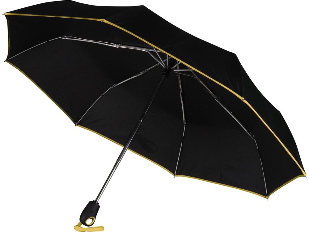 Зонт складной Уоки, черный/желтый (Р)