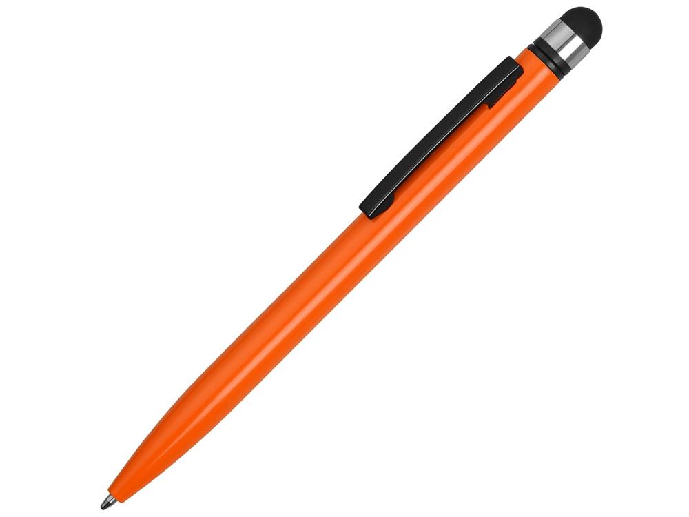 Ручка-стилус металлическая шариковая Poke, оранжевый/черный