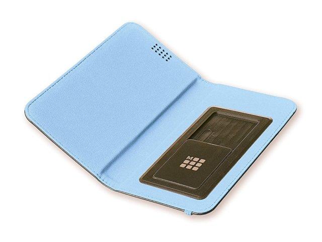 Чехол-книжка универсальный двухцветный, L, черный/голубой