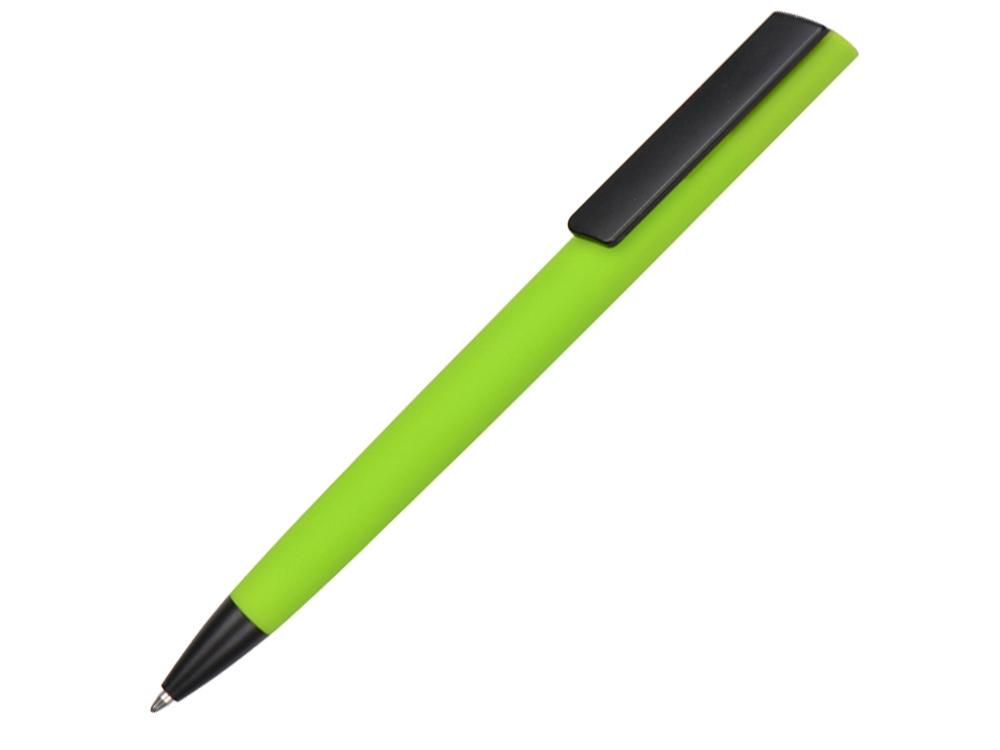 Ручка пластиковая soft-touch шариковая Taper, зеленое яблоко/черный
