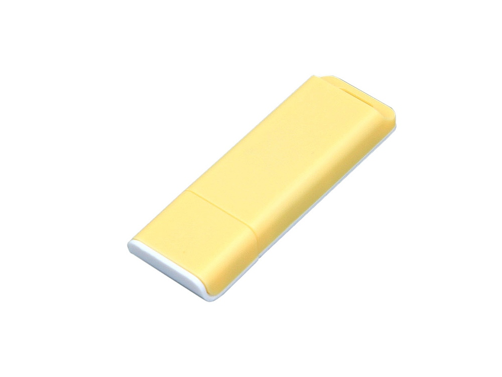Флешка прямоугольной формы, оригинальный дизайн, двухцветный корпус, 32 Гб, желтый/белый