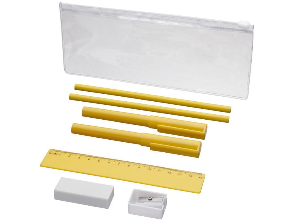 Набор Mindy: ручки шариковые, карандаши, линейка, точилка, ластик, желтый