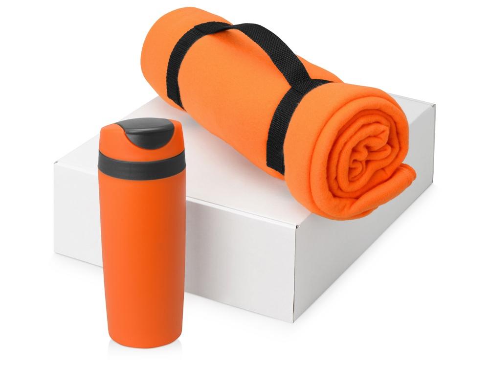 Подарочный набор Cozy с пледом и термокружкой, оранжевый