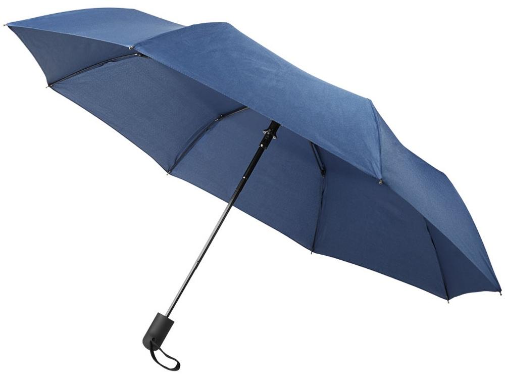Складной полуавтоматический зонт Gisele 21 дюйм, темно-синий