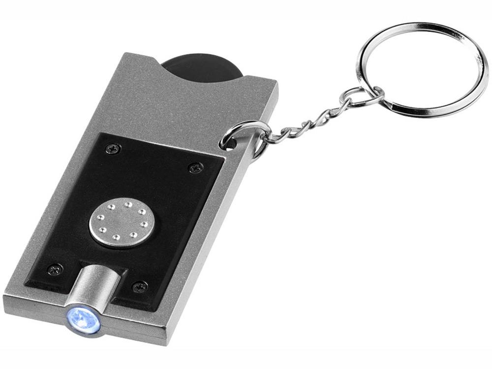 Брелок-держатель для монет Allegro с фонариком, черный/серебристый