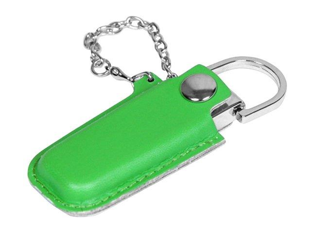 Флешка в массивном корпусе с кожаным чехлом, 64 Гб, зеленый