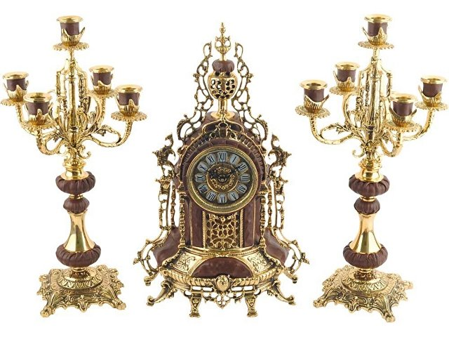 Композиция «Герцог Альба»: интерьерные часы с подсвечниками (арт. 17301)