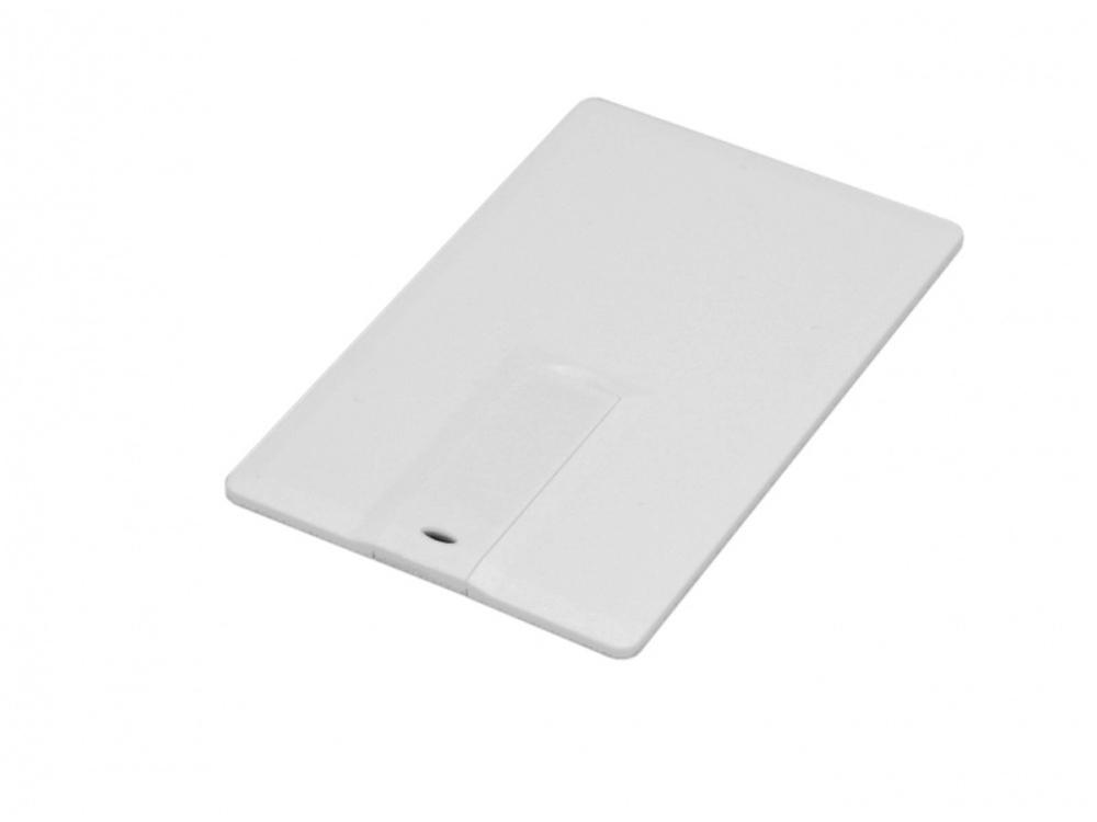 Флешка в виде пластиковой  карты c удобным откидным механизмом, 64 Гб, белый