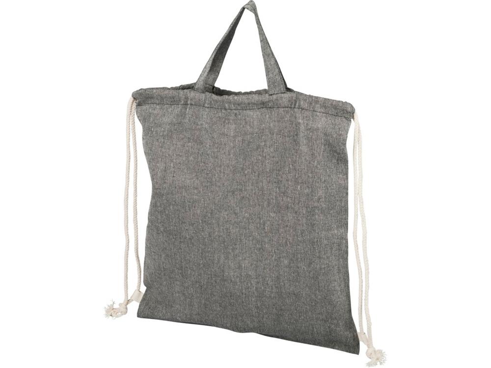 Рюкзак со шнурком Pheebs из 150г/м² переработанного хлопка, черный