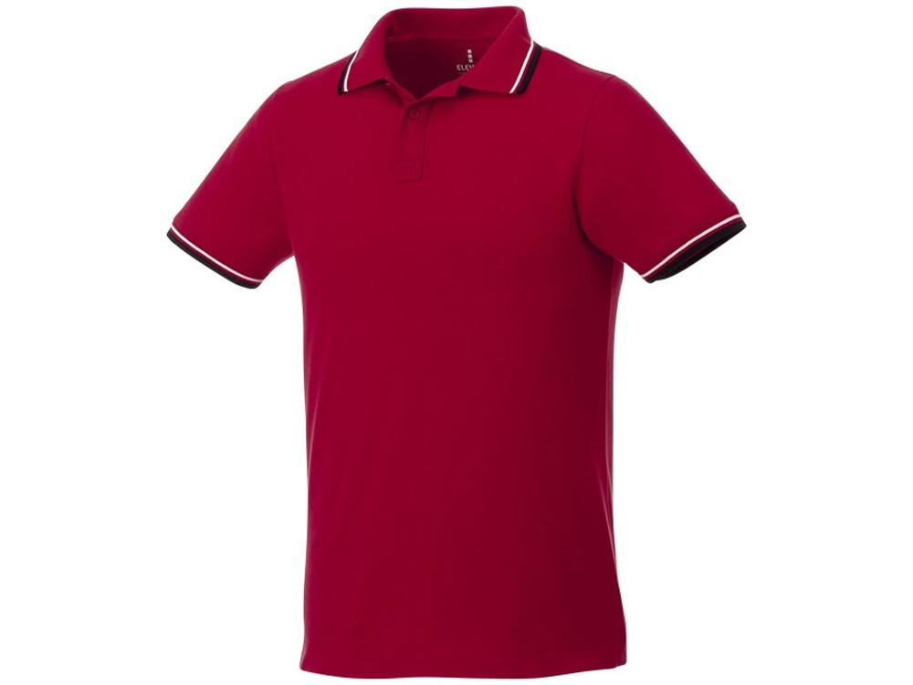 Мужская футболка поло Fairfield с коротким рукавом с проклейкой, красный/темно-синий/белый
