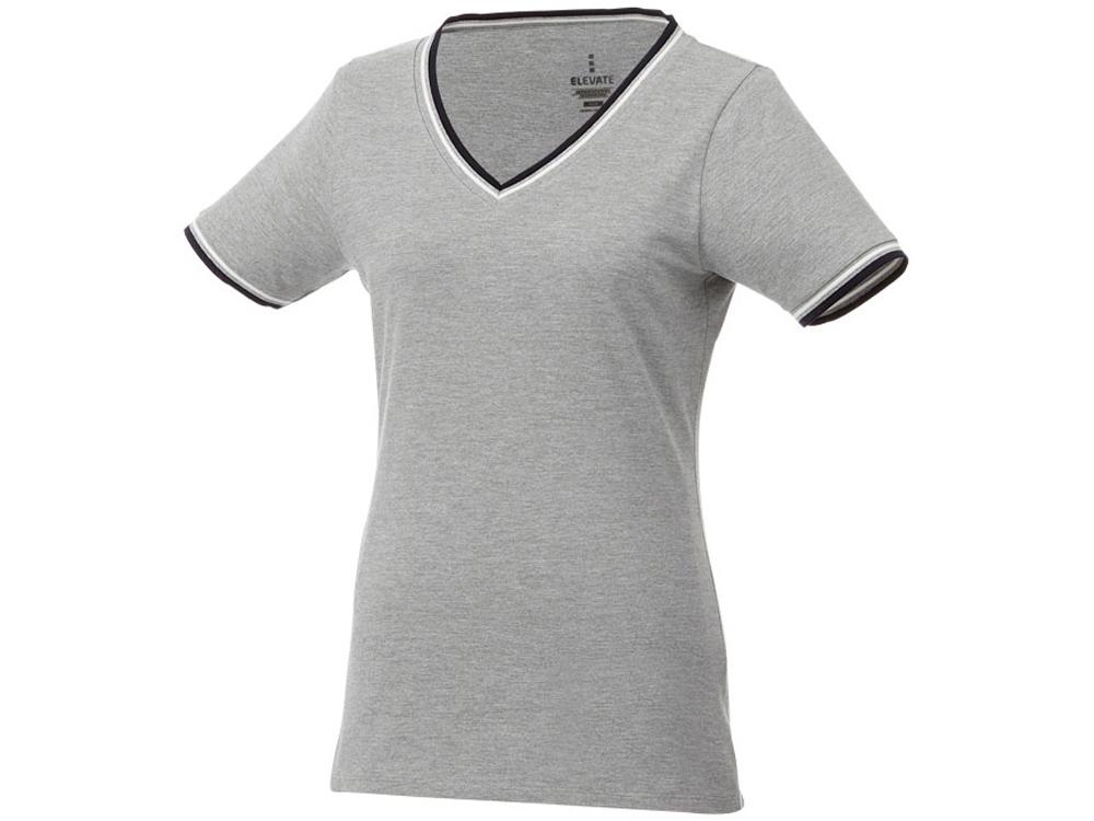 Женская футболка Elbert с коротким рукавом, серый меланж/темно-синий/белый