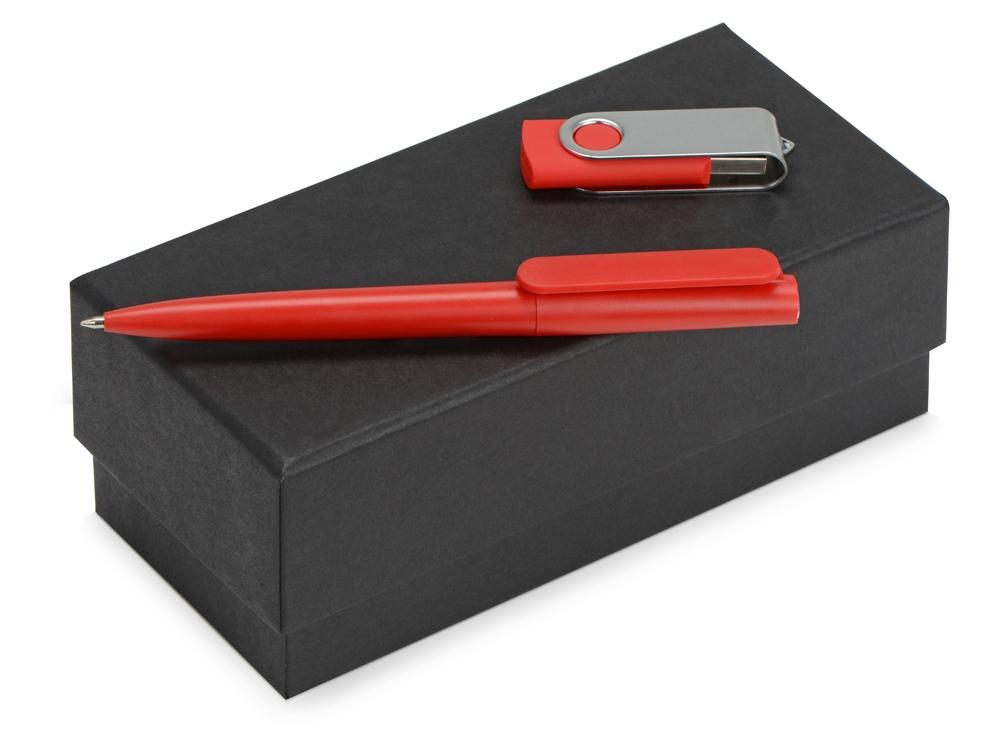 Подарочный набор Qumbo с ручкой и флешкой, красный