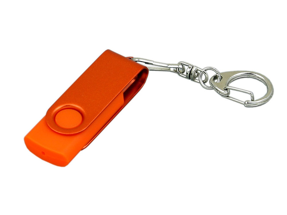 Флешка промо поворотный механизм, с однотонным металлическим клипом, 16 Гб, оранжевый
