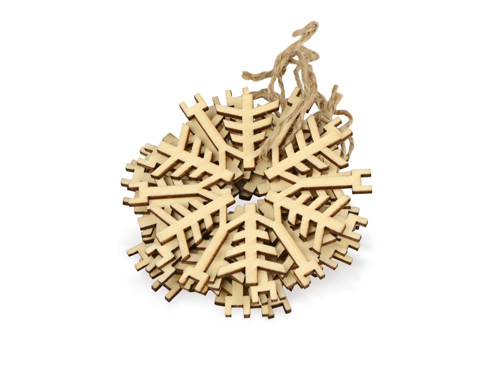Набор деревянных снежинок, 6шт