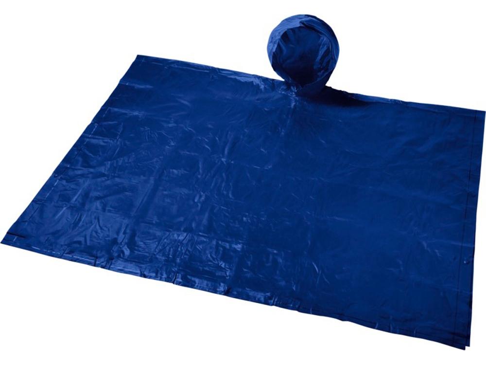 Складывающийся полиэтиленовый дождевик Paulus в сумке, темно-синий
