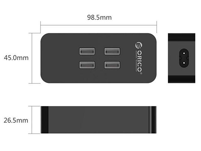 Зарядное устройство Orico DCV-4U (черный)4*USB2,4А/5Вмах4А; 20Вт; Smart Technologyпластик