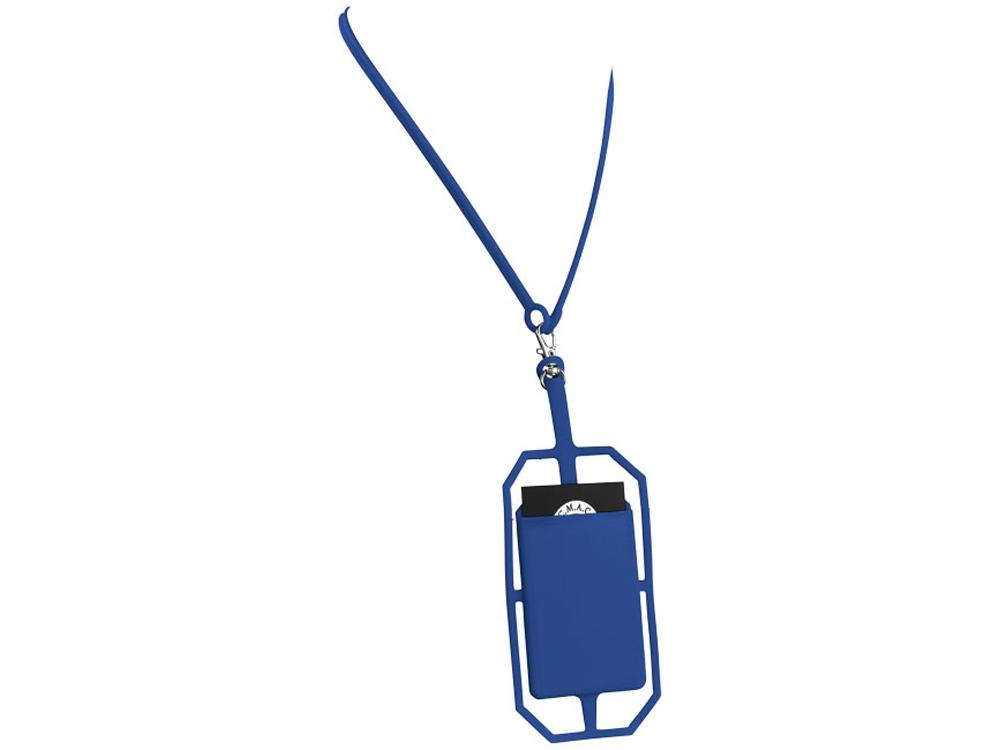 Картхолдер RFID со шнурком, ярко-синий