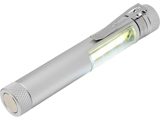 Карманный фонарик Stix с зажимом, оснащен бескорпусным чипом и магнитным держателем, серебристый