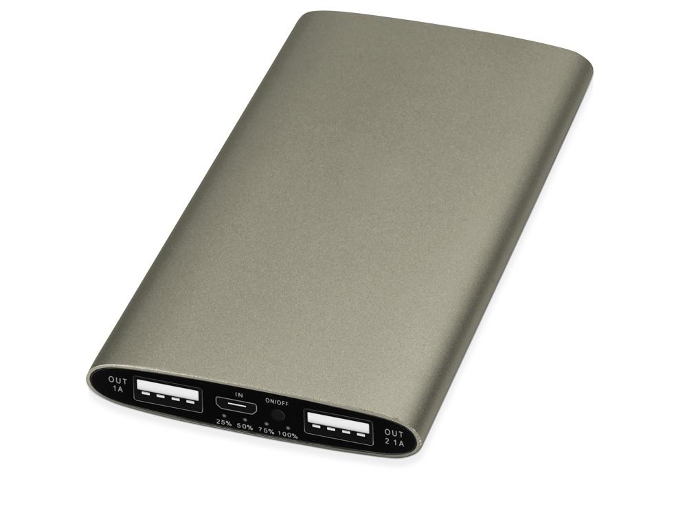 Портативное зарядное устройство Мун с 2-мя USB-портами, 4400 mAh, бронзовый (Р)