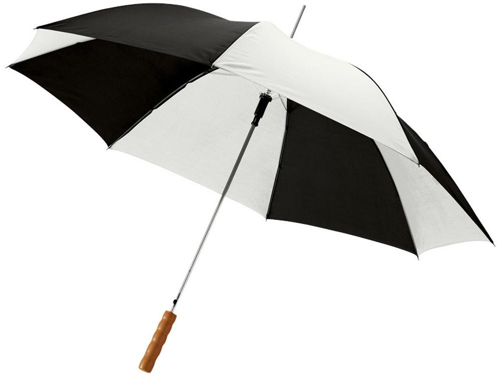 Зонт-трость Lisa полуавтомат 23, белый/черный