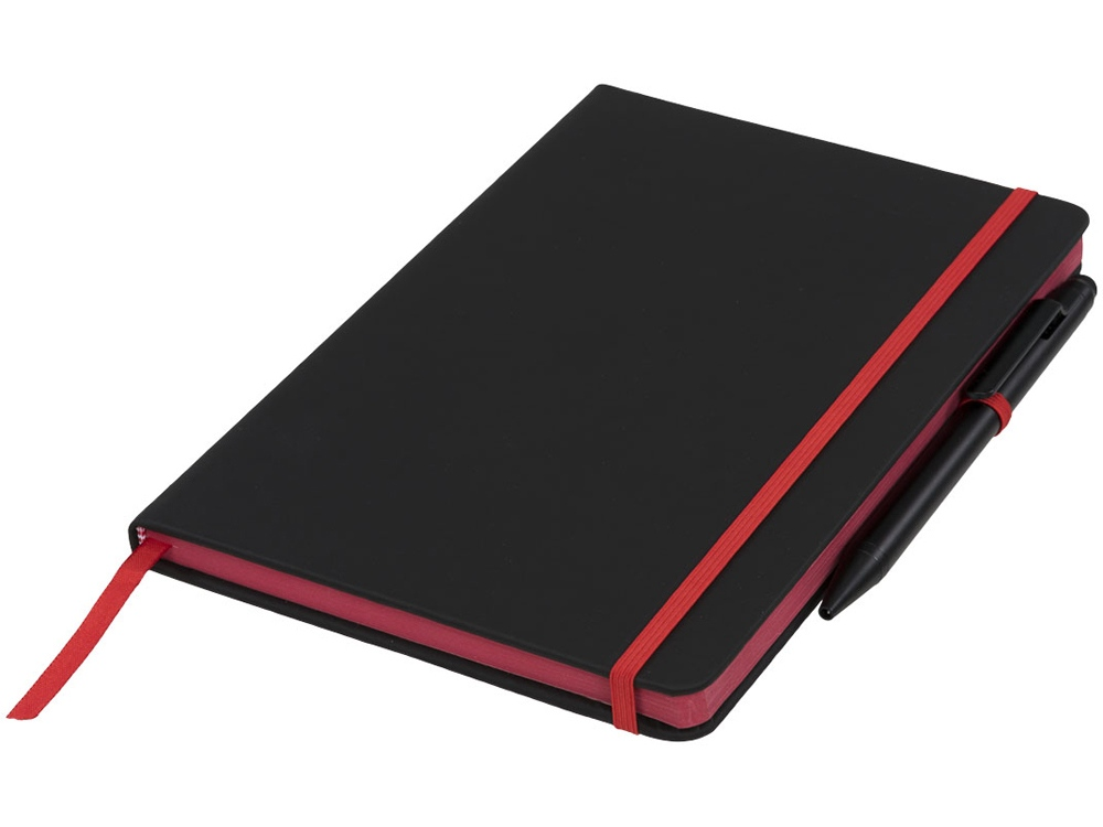 Блокнот Noir Edge среднего размера, черный/красный