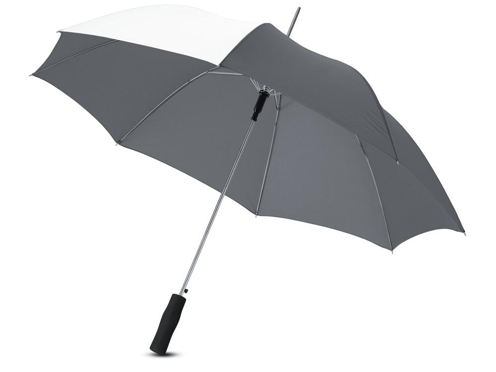 Зонт-трость Tonya 23 полуавтомат, серый/белый