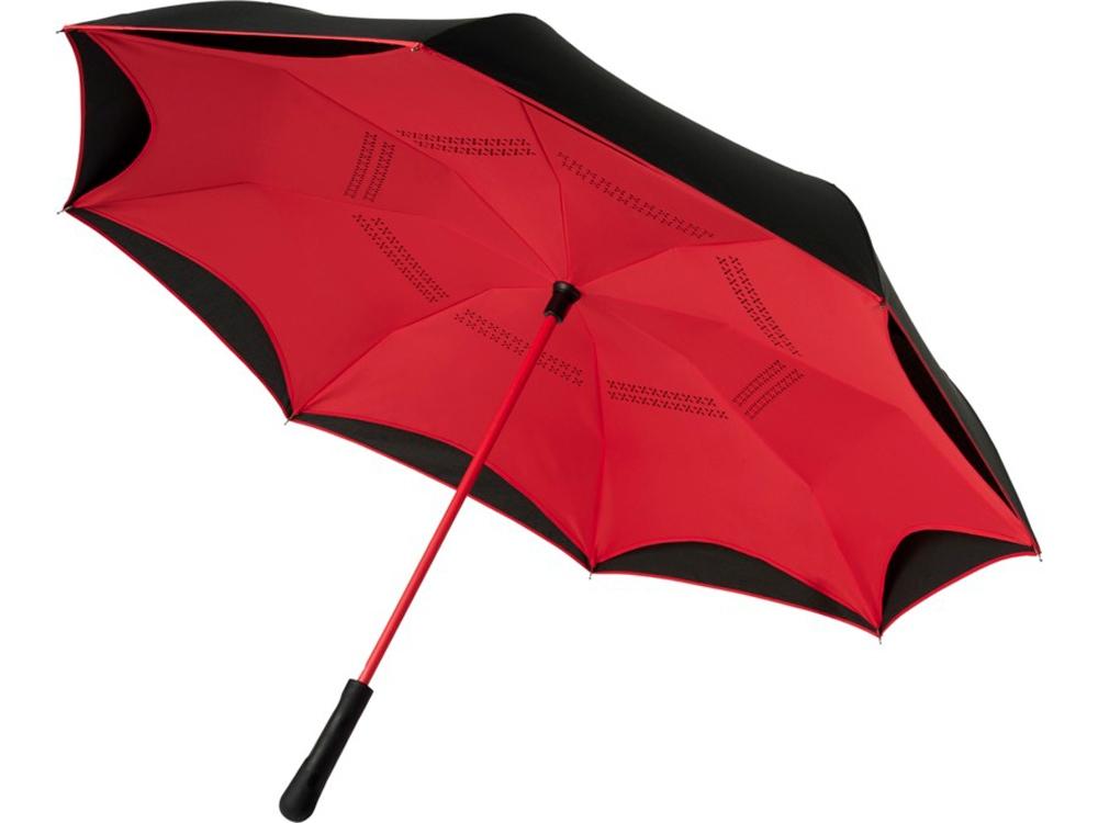 Прямой зонтик Yoon 23 с инверсной раскраской, красный