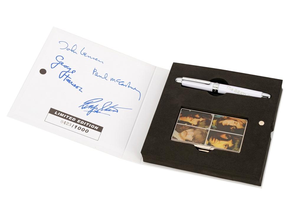 Набор The Beatles WHITE ALBUM: визитница, ручка роллер, белый/разноцветный