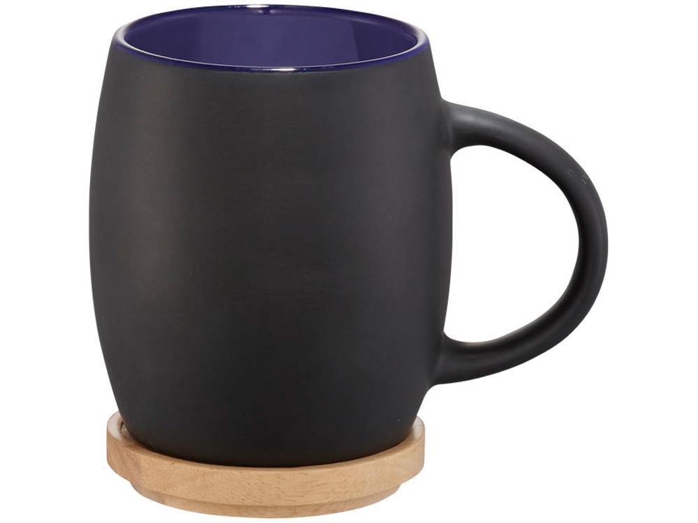 Керамическая чашка Hearth с деревянной крышкой-костером, черный/синий