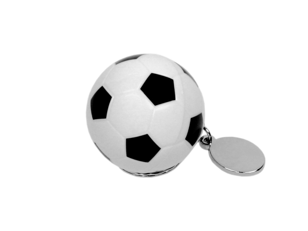 Флешка в виде футбольного мяча, 64 Гб, белый/черный