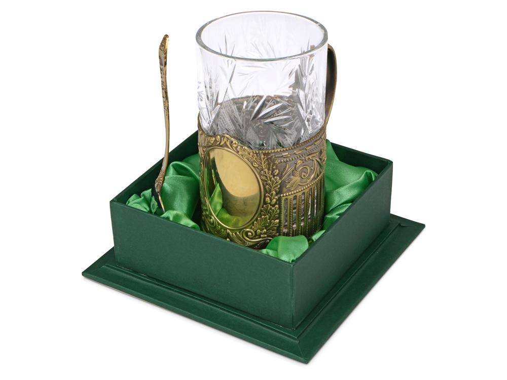Подстаканник с хрустальным стаканом Базовый-Л, золотистый/прозрачный