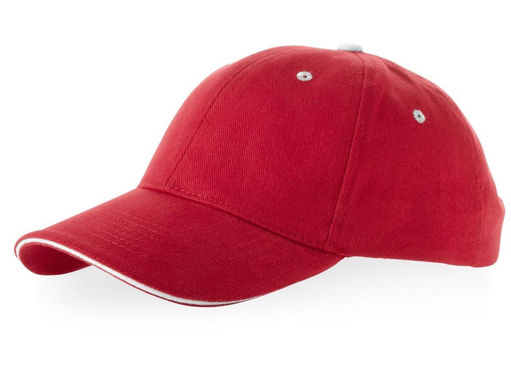 Бейсболка Brent типа сэндвич, 6 панелей, красный/белый