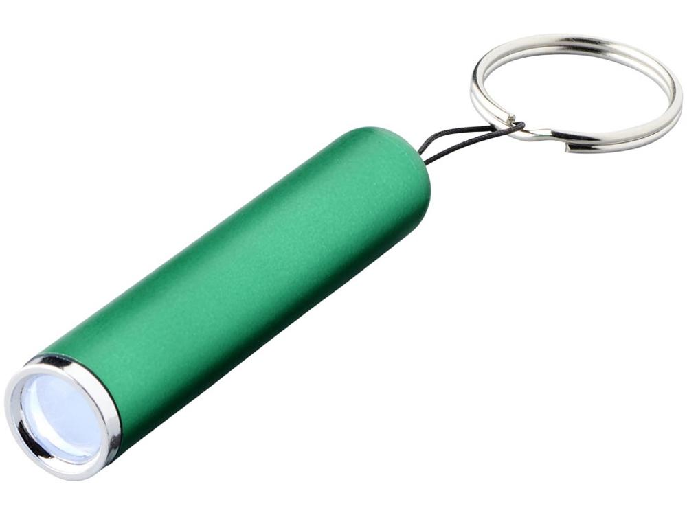 Фонарик-брелок Pull со светящимся логотипом, зеленый