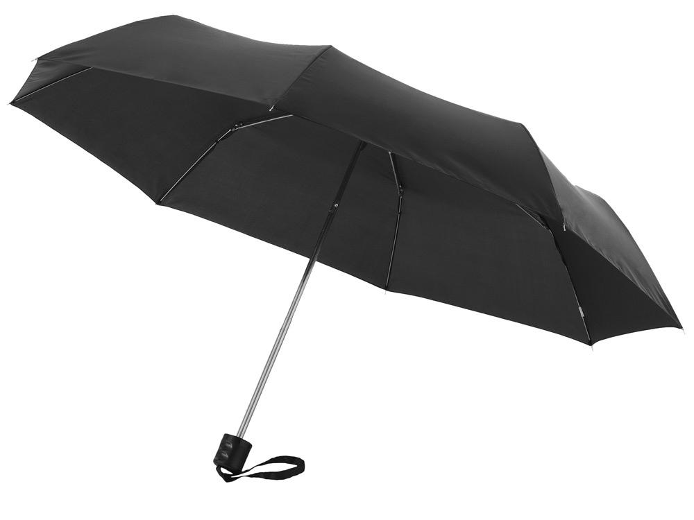 Зонт Ida трехсекционный 21,5, черный (Р)